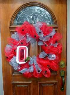 Ohio State Deco Mesh Spirit Wreath  with Real by TheMeshyMama, $60.00