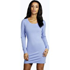 Boohoo Basics Camille Long Sleeve Jersey Bodycon Dress ($16) ❤ liked on Polyvore featuring dresses, cornflower, jersey knit dress, mini dress, body con dress, evening wear dresses and sleeve dress