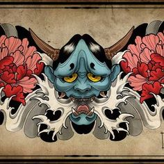 I sincerely love the colors and shades, outlines, and depth. - I sincerely love the colors and shades, outlines, and depth. This really is the perfect concept if - Hannya Mask Tattoo, Hanya Tattoo, Yakuza Tattoo, Samurai Tattoo, Oni Mask, Japanese Tattoo Art, Japanese Tattoo Designs, Japanese Sleeve Tattoos, Japanese Art
