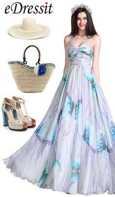 eDressit Printed Strapless Pleated Bridesmaid Dress