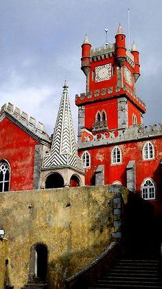 Palacio de Pena and it's clock tower in Portugal