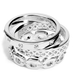 The Sterling Link Stacking Ring Set from Coach