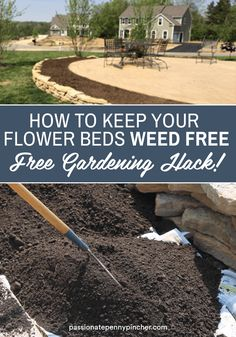 Are you getting Spring fever and ready to mulching your flower beds? Here's an easy trick for how to keep weeds out of flower beds and it likely won't cost you a penny. Before mulching, go ahead and remove weeds that are in your flowerbed by weeding by hand. Then you'll want to lay down leftover newspaper over any open space areas where you want to keep your flower beds weed free. Lawn And Landscape, Landscape Design, Garden Design, Outdoor Projects, Garden Projects, Garden Ideas, Gardening For Beginners, Gardening Tips, Herb Garden