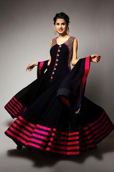 Pink stripes on black give a modern twist to the anarkali #wedding