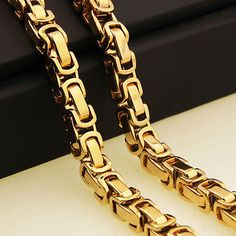 Fashion Jewelry Trendy Byzantine Chain Men's Stainless Steel Necklace Chain Mens Gold Chains Necklaces Mens Gold Chain Necklace, Mens Diamond Stud Earrings, Mens Gold Bracelets, Mens Gold Jewelry, Black Gold Jewelry, Ruby Jewelry, Copper Jewelry, Jewelry Necklaces, Italian Gold Jewelry