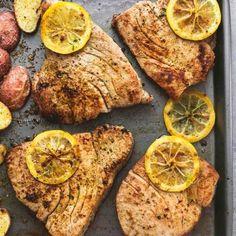 Sheet Pan Lemon Herb Tuna Steaks and Potatoes   lecremedelacrumb.com