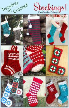 Trending In Crochet – Stockings! Free Crochet Patterns on The Purple Poncho #crochet #stocking #christmas