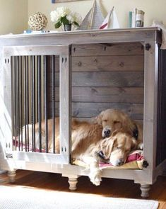 32 Rustic Indoor Dog Houses Design Ideas For Small Dogs To Have - Most people think of outdoor dog houses when they thing of a dog house. However, there are also indoor dog houses. Which are perfect if you want to ke. Metal Dog Kennel, Dog Kennel Cover, Diy Dog Kennel, Kennel Ideas, Diy Kennel Indoor, Diy Dog Crate, Large Dog Crate, Large Dogs, Small Dogs