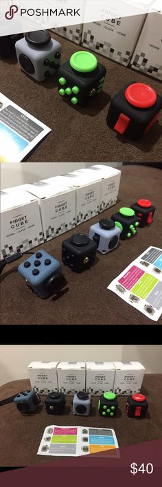 MINI FIDGET CUBE buy 3 get 1 free Brand New Stress Relief and ANXIETY Toy  GOOD QUALITY!  SIZE: MINI ( 2.2 x 2.2cm ) COLOR: BLUE, BLACK, BLACK GRAY, BLACK GREEN                AND BLACK RED  MATERIAL: PVC  FOR CHILDREN AND ADULT TOY  Ages: 8 and ABOVE  If you want a specific color, just comment me!   INCLUDED INSIDE THE BOX 1x FIDGET TOY  1x STRAP 1x MANUAL Other