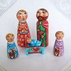 Christmas nativity set Holy Family Three Kings painted wooden scene creche crib angel baby Jesus Christ Joseph Mother Mary peg doll figurine...
