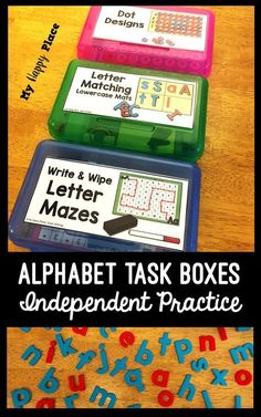 Alphabet Fine Motor Skills Task Boxes Great for morning tubs, literacy centers, or early finishers, these alphabet task boxes combine letters and fine motor skills practice! Prek Literacy, Kindergarten Centers, Early Literacy, Kindergarten Reading, Kindergarten Classroom, Early Finishers Kindergarten, Differentiated Kindergarten, Kindergarten Morning Work, Classroom Decor