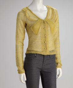 Take a look at this Yellow Bow Cardigan by Ryu on #zulily today!