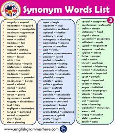 800 Synonym Words List in English - English Grammar Here English Grammar Notes, Teaching English Grammar, English Grammar Worksheets, English Writing Skills, English Vocabulary Words, Learn English Words, English Language Learning, English Lessons, English English