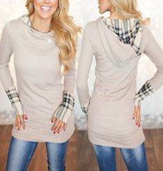 Comfy Weekend Casual! Stylish Hooded Long Sleeve Spliced Plaid Women's Hoodie #Comfy #Weekend #Casual #Plaid #Trim #Hoodie #Fashion