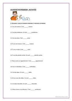 """Résultat de recherche d'images pour """"exercice les adjectifs possessifs"""""""