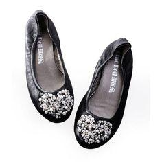 Buy Black Lambskin Leather Evening Cocktail Ballet Flats Shoe Women SKU-1090689
