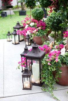 Lanterns with planters