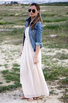 One of my favorite Spring/Summer looks..... long maxi dress with denim jacket. Totally rocking similar outfits on my Vegas trip in April!