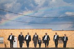 """Groom and his men- """"Reservoir Dogs"""" style... taken at Lofty Spaces in Dallas, Texas. http://www.kellygarseephoto.com"""