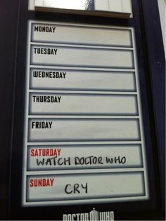 Whovian weekend plans.