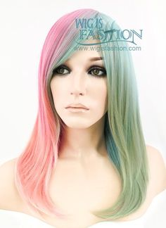 """18"""" Long Wavy Pink Blue Green Pastel Fashion Synthetic Hair Wig TX171 – Wig Is Fashion"""