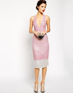 025b4976f2 ASOS RED CARPET Premium Embellished Midi Dress With Plunge Front at asos.com