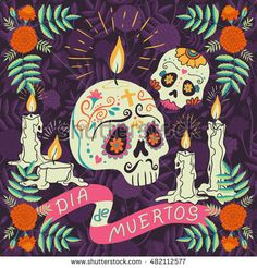 """Vector hand drawn illustration of Mexican holiday """"Day of the Dead"""". The postcard with traditional  sugar skulls, marigold flowers and candles, and lettering """"Dia de Muertos"""""""