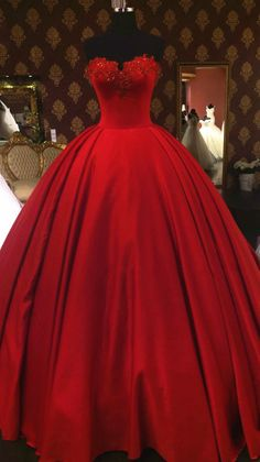 quinceanera dresses,lovely sweetheart red wedding dresses ball gowns,vintage wedding gowns,satin wedding dress,sexy wedding dresses Dresses Near Me Red Ball Gowns, Ball Gowns Prom, Vintage Ball Gowns, Red Gowns, Cheap Prom Dresses, Sexy Dresses, Red Quinceanera Dresses, Corset Dresses, Red Corset Dress