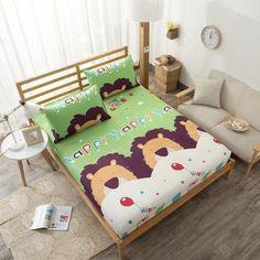 Animal Cotton Children Bed Sheet Bear, Lion,Cedar forest Fitted Sheet Twin Full Queen King Size Deep 30cm Mattress Cover