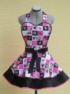 Minnie Mouse Pin up Apron- Sweetheart Hostess- With a hint of Black- Full of Twirl Flounce