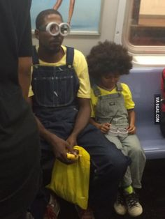 Father of the year award goes to this gentleman who was taking a very excited boy to the movies