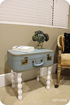 Find a suitcase and turn it into a side table, complete with storage! #yard sale #garage sale #tag sale #recycle #upcycle #repurpose #redo #remake #thrift