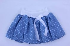 Denim bubble skirt for girls, baby skirt, toddler skirt, summer skirt, blue skirt, elastic waist skirt, mummy and me, cotton skirt