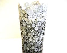 Vase Sculpture Black Gray and White Ombre Rolled Paper Upcycled from Magazines, Catalogs, etc.
