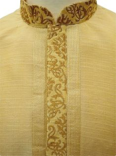 Cream colour mens Kurta (Long Shirt) and gold churidar tousers set.(Draw stringed tight at ankle Indian trousers)Ideal for Asian weddings , Bollywood Parties or any special occasion. India Fashion Men, Indian Men Fashion, Mens Fashion, Fashion Outfits, Gents Kurta Design, Boys Kurta Design, Kurta Designs, Blouse Designs, Kurta Pajama Men