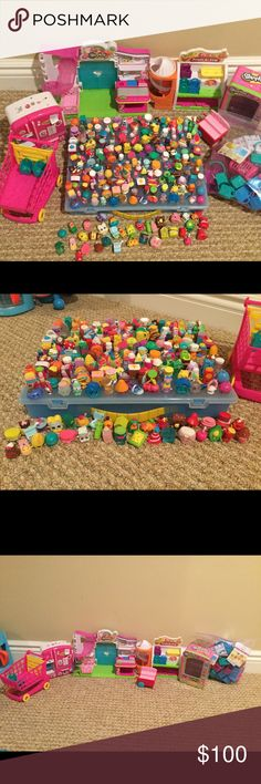 SHOPKINS Bundle!!! Over 200 Shopkins, starting with season 1, shopping cart, fridge, storage case, fruit and veg stand, Shopkins shop, and giant bag of baskets and bags, various seasons. All excellent Condition,! Shopkins Accessories