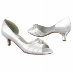 Dyeable. Peep toe. 1 3/4''. bling on front. ruching