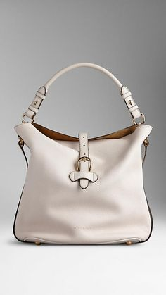 Natural Medium Buckle Detail Leather Hobo Bag - Image 1