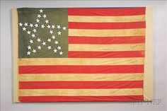 "Large Cotton Thirty-four ""Great Star"" American Flag, c. 1860, 50 1/2 x 74 3/4 in."