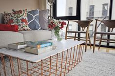 decca + decca design studio project in Brooklyn , NY - 2014 cooper wire coffee table Wire Coffee Table, Brooklyn, Condo, Throw Pillows, Studio, Bed, Interior, Home, Design