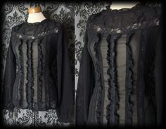 Goth Black Sheer Frilled Bib VICTORIAN GOVERNESS High Neck Blouse 10 12 Vintage - £29.00