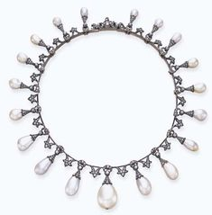 AN ANTIQUE PEARL AND DIAMOND NECKLACE Designed as a graduated fringe of natural baroque pearls, each with a rose-cut diamond cap and crescent surmount, suspended from knife-edge links, with foliate spacers, mounted in silver-topped gold, circa 1880, 14 ins.