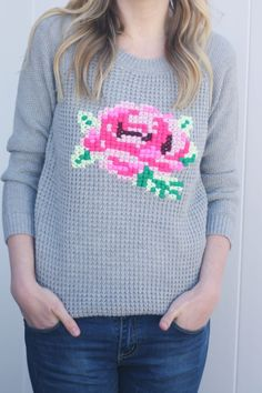 Floral Cross Stitch Sweater DIY