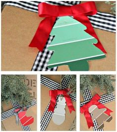TIP #12: Use paint chips to make gift tags from Southern State of Mind. 20 Christmas Tips and Hacks on Frugal Coupon Living.                                                                                                                                                                                 More