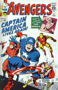 """1964 Alley Award: Best Novel - """"Captain America Joins the Avengers"""", by Stan Lee & Jack Kirby, from The Avengers (Marvel Comics) The Avengers, Avengers Comics, Comic Book Superheroes, Bd Comics, Marvel Comic Books, Comic Books Art, Star Comics, Free Comics, Silver Age Comics"""
