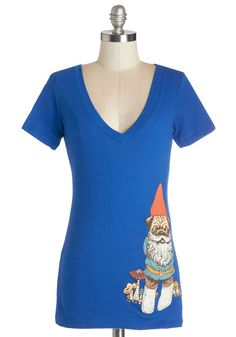 Game of Gnomes Top. For a marathon gaming sesh with your friends, sport this ModCloth-exclusive printed tee! #blue #modcloth
