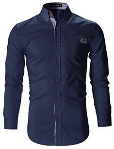 b4c09a08ba1c2 FLATSEVEN Mens Slim Fit Plaid Pointed Casual Dress Shirts (SH1780) Navy Mens  Tailor,