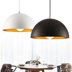 Nordic Black/White Pendant Light Aluminum Lampshade Lighting Suspension Luminaire E27 110V 220V for decor Hanging Light Fixture