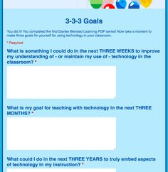 Google Forms for 3-3-3 goals. Perfect for Summer PD https://docs.google.com/forms/d/11oT3FUAQC-EkimicMZgv5KdLymOb0SuCGeoPgyHyZds/viewform