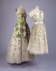 """The Metropolitan Museum of Art - """"May"""" by Dior. 1953. In """"May,"""" flowering grasses and wild clover are rendered in silk floss on silk organza. This """"simple"""" patterning of meadow-gone-to-weed is composed of the tiniest French knots."""